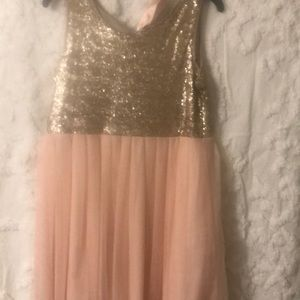 Girls blush and gold sequin dress
